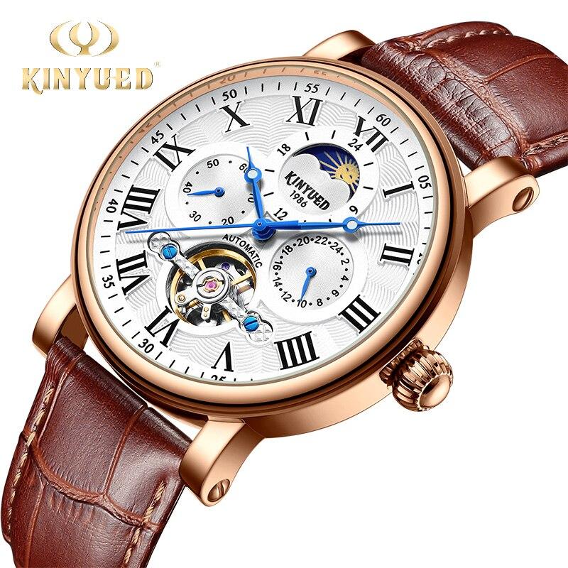 Marca de Moda Automático à Prova Fase da Lua Kinyued Tourbillon Relógio Mecânico Masculino Dwaterproof Água Esqueleto Couro Ouro Montres Homme