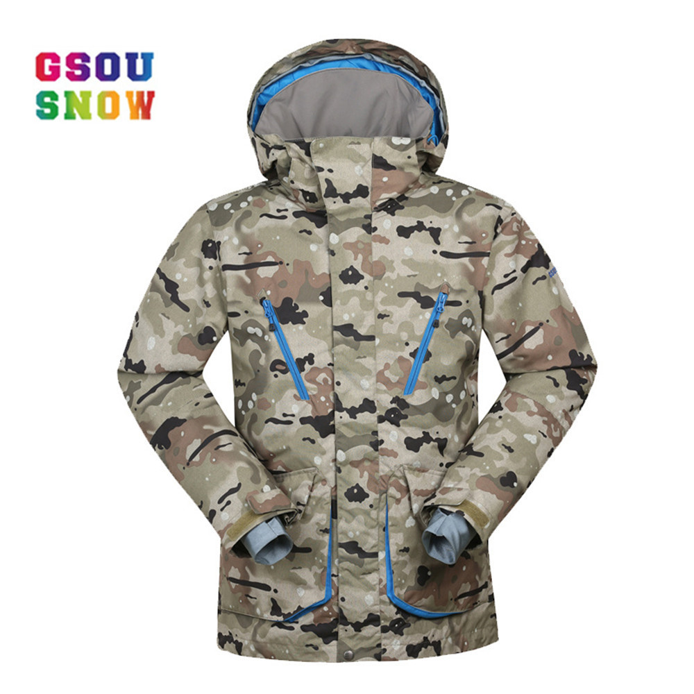 GSOU SNOW Brand Men Ski Jackets Windproof Snowboard Jacket Men Outdoor Warmth Winter Clothing Breathable Sportswear Waterproof gsou snow winter women ski suit warmth outdoor snowboard jacket waterproof windproof breathable lady sports jackets plus size