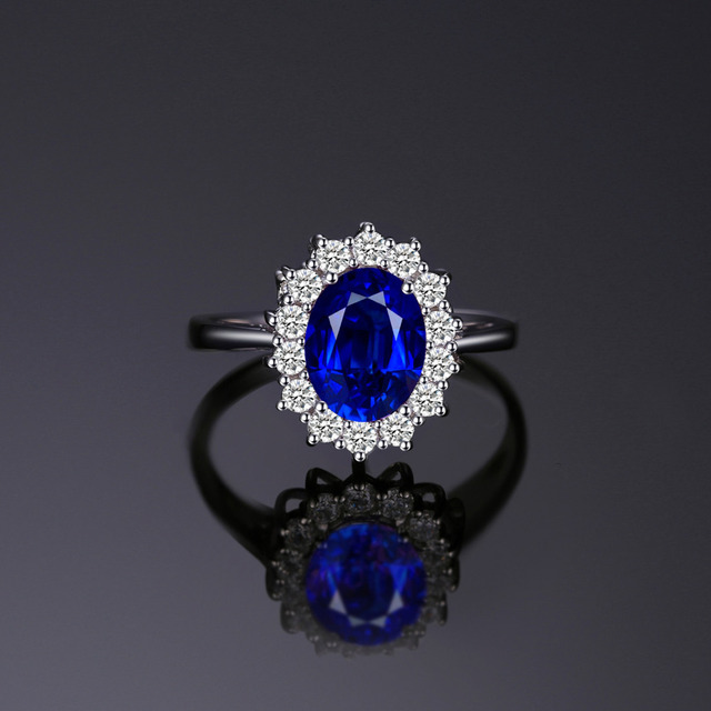 Blue Sapphire Engagement 925 Sterling Silver Ring 1
