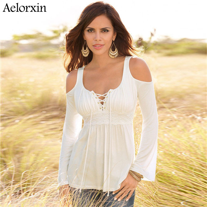 Aelorxin 2019 Women <font><b>T</b></font> Shirt Summer Long Sleeve <font><b>Sexy</b></font> Off Shoulder Tie Lace Stitching Tee Shirt <font><b>Femme</b></font> Plus Size Top <font><b>Haut</b></font> <font><b>Femme</b></font> image
