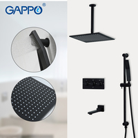 GAPPO Shower faucets black bath mixer waterfall faucet bathroom mixer rainfall bath set shower faucet 3 function shower mixer