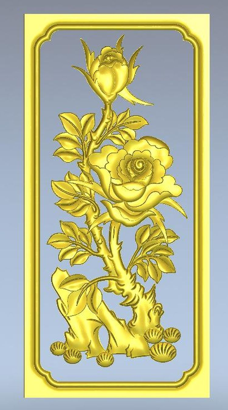3d model relief  for cnc in STL file format Panno_Rose panno hunting 2 for cnc in stl file format 3d model relief