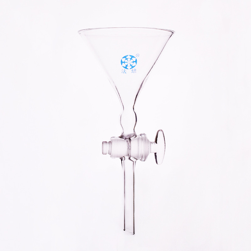 Fine sand separation funnel 95*200mm,The diameter of the upper opening 95mm,Full length 200mm,Glass switch valve
