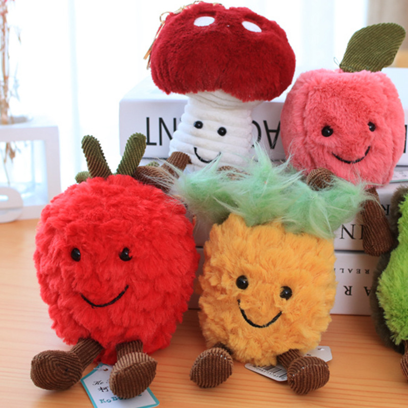 Strawberry Mushroom Cherry Pineapple Plush Keychain Small Pendant Stuffed Plush Key Chains Plush Fruit Series Soft Toy Gifts