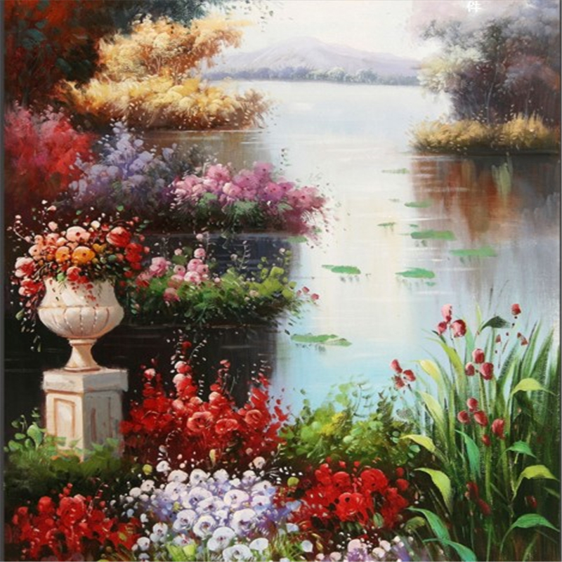 beibehang scale custom murals waterfront of European - style landscape oil paintings entrance papel de parede para sala estar image