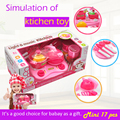 17pcs kid simulated pot pan food kitchen toys for girls mini educational safety kitcher toys pretend light&sound for child gift
