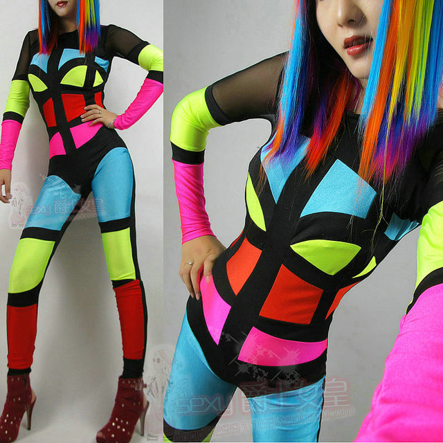 2014 new tiems ds costume neon patchwork jumpsuit fashion