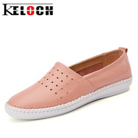 Keloch High Quality Women Genuine Leather Slip On Flats Handmade Fisherman Shoes Loafers Ladies Flat Slipony