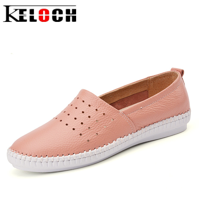 Keloch High Quality Women Genuine Leather Slip On Flats Handmade Fisherman Shoes Loafers Ladies Flat Slipony Sapatos Femininos холодильник с морозильной камерой indesit ef 20 sd