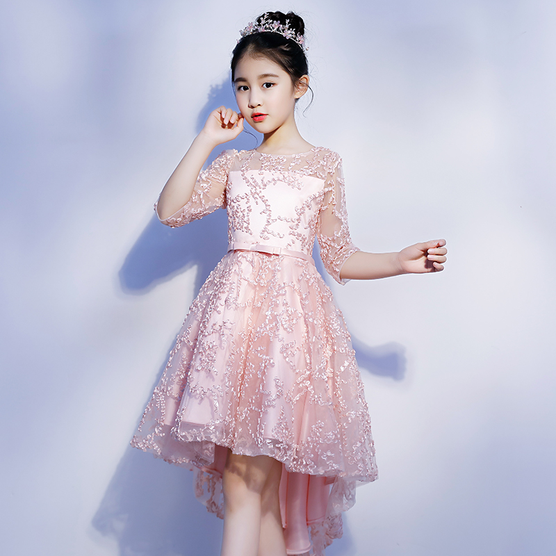 Luxury Children Girls Ball Gown Dress Communion Banquet Gowns Short Before Long Back Lace Clothing Lovely Girls Dresses S32Luxury Children Girls Ball Gown Dress Communion Banquet Gowns Short Before Long Back Lace Clothing Lovely Girls Dresses S32