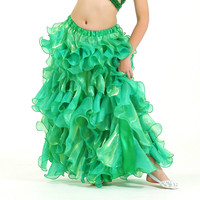 Performance Children Belly Dancing Clothes Wave Long Maxi Skirts Girls Chiffon Skirt Professional Belly Dance Skirt