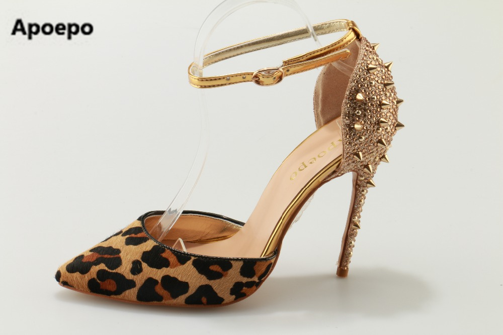 Apoepo brand Leopard suede women sandals pointed toe pumps ladies shoes rivet sandals high heels shoes women big size 35-43 apoepo brand black luxury diamond sandals women sexy pointed toe string bead ladies shoes summer high heels sandals shoes 2018