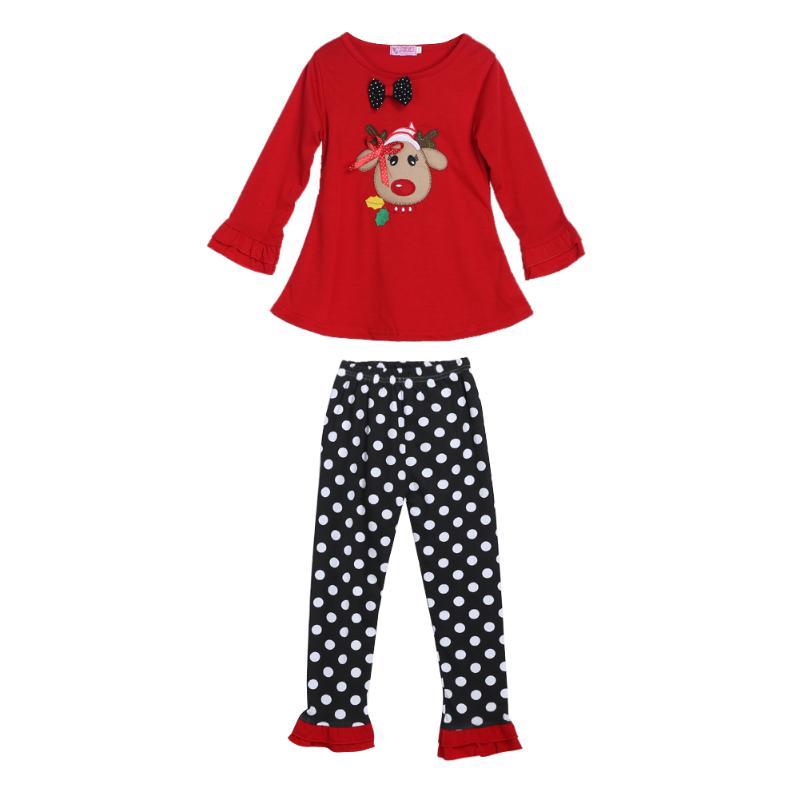 2pcs Christmas Baby Clothing Sets Kids Winter Girl Clothes Long Sleeve Tops Dot Pants Outfit Xmas Gift