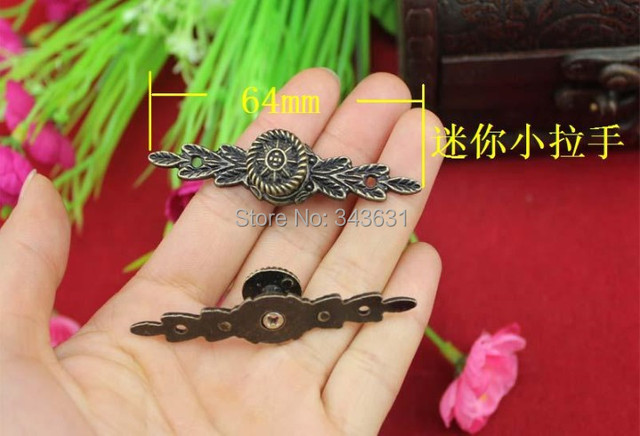 50pcs 64mm Antique Brass jewelry box drawer small handle alloy