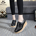Cow leather Flat Platform shoes US size 9 designer vintage round toe handmade black white 2017 sping oxford shoes for women