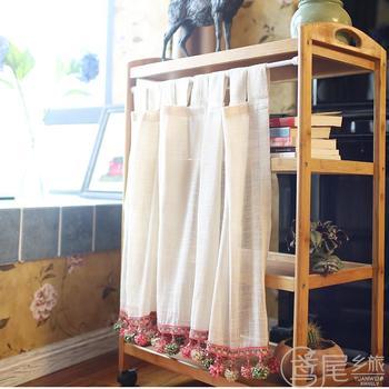 Половина-Шторы Модные Вязаные Короткие Шторы бежевый Лен Марля красочные мяч подол сплошной Кофе Шторы для Кухня двери шкафа