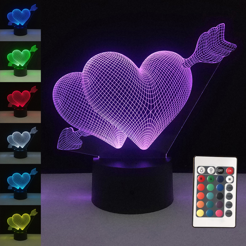 3D Valentines day gift LED Touch 7 Color Light Decorative Table Lamp USB Night Lights Arrow Through Hearts Nightlight Gifts lamp