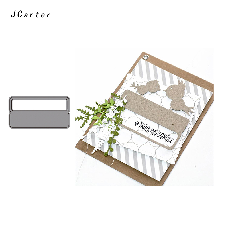 JC Metal Cutting Dies for Scrapbooking Die Cut Rectangle Letter Frame Craft Stencil Folder Paper Card Making Model Decoration in Cutting Dies from Home Garden