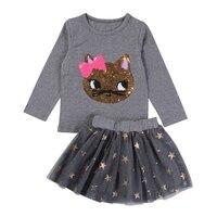 New Arrival Autumn And Spring Long Sleeve Dress Set Fox Printing Top Shinning Stars Mini Skirt