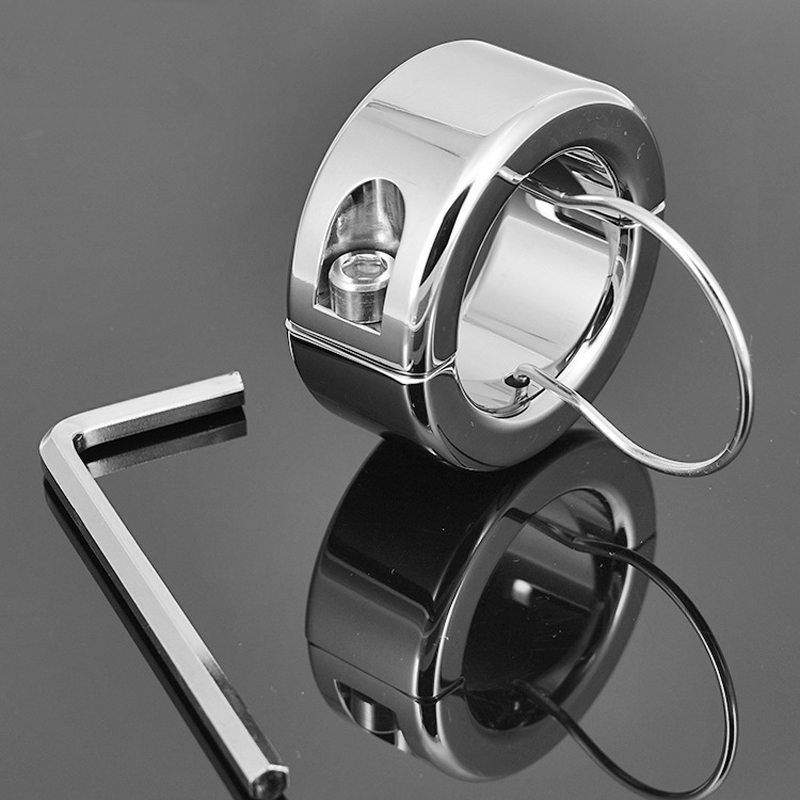 Buy stainless steel heavy penis jewelry scrotum pendant cockring ballstretcher testicle ball stretching rings cock ring men