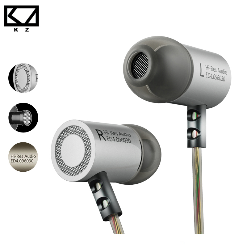 KZ ED4 Earphone for Phone Metal Stereo Headphones Noise Isolating In-ear Music Earbuds with Microphone for Mobile Phone MP3 MP4 noise cancelling earphone stereo earbuds reflective fiber cloth line headset music headphones for iphone mobile phone mp3 mp4 page 1