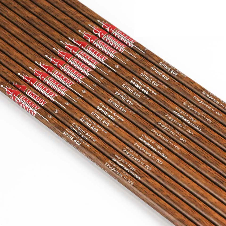 32 inch Wood Skin Carbon Arrow Shaft with Wooden Paint Spine 400 450 500 600 ID