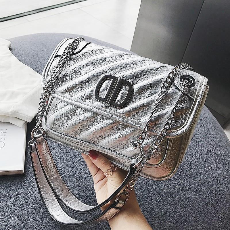 ETAILL Diamond Lattice Silver PU Leather Quilted Bag Chain Women Crossbody Shoulder Bag Lady Designer Brand Women Messenger Bags стоимость