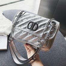 cd10e1e3a35d3 ETAILL Diamant Gitter Silber PU Leder Stepp Tasche Kette Frauen  Umhängetasche Schulter Tasche Dame Designer Marke