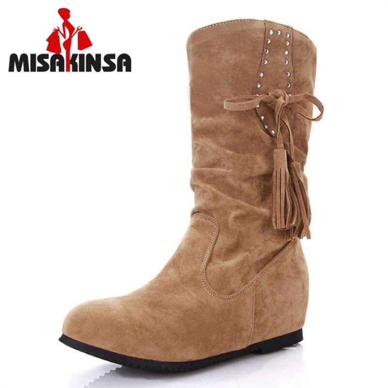 a1c2bf3ae88 Las mujeres del dedo del pie redondo medio corto de arranque media  pantorrilla Invierno Caliente ocio Boot moda Sexy Martin Bota calzado  zapatos tamaño 34- ...