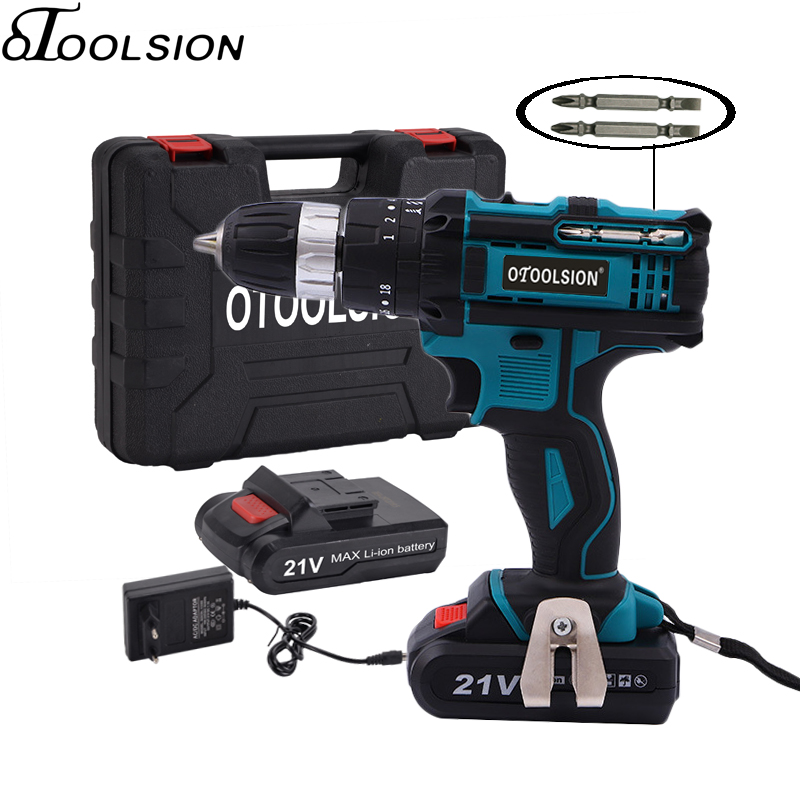 New 21v Impact Electric Drill Variable Speed Impact Electric Screwdrivers 1.5mah Impact Cordless Drill Lithium Battery Home DIY