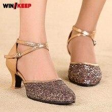 Latin Dance font b Shoes b font Bronze Black Glitter Sequins New arrival Soft bottom Mid