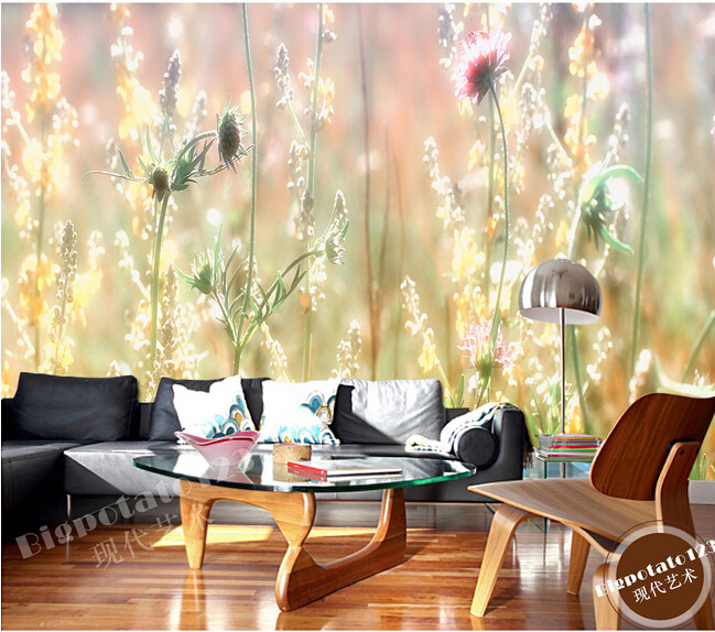 The latest custom 3D murals, fantasy sunshine weed wild flowers. Living room sofa TV wall bedroom background wall paper wild flowers