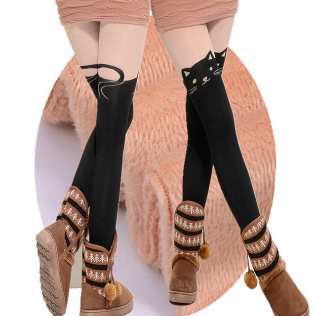 Winter woman printing splicing  sexy leopard cat heart thick leggings high elastic pants  delivery free of charge