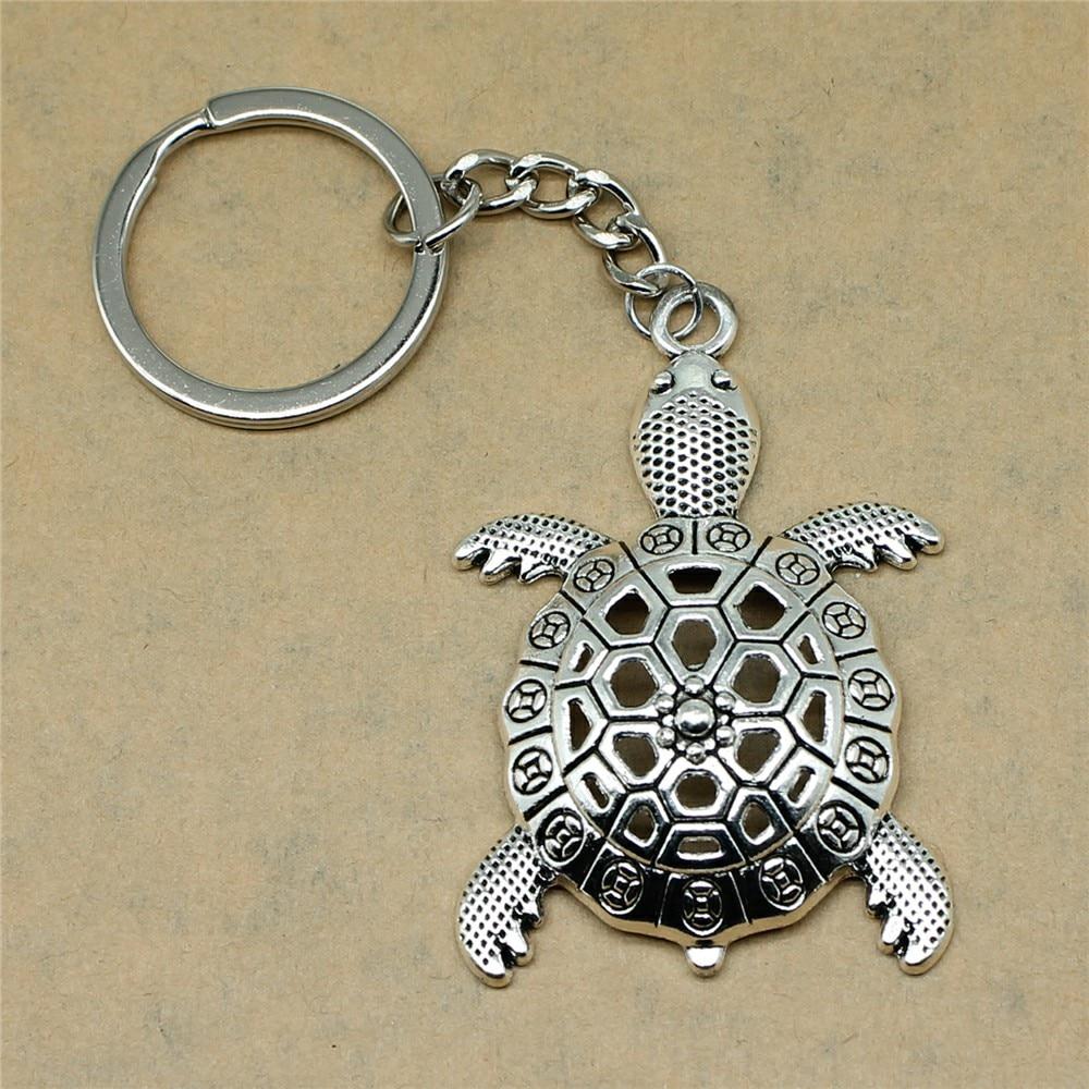 1 Stück Keychain Auto Schlüssel Große Schildkröte Schildkröte Cuckold Diy Schmuck Machen Geschenk Für Neue Jahr 55x37mm Anhänger Antike Silber Direktverkaufspreis