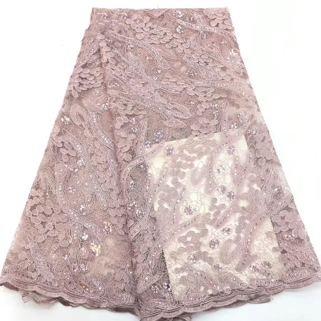 2019 Latest Pink Green African Nigerian Lace Fabric with sequins High quality French Net Sequins Lace