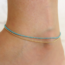 Trendy Simple Double Layered Anklet Fashion Beaded Handmade Foot Chain Ankle Bracelets for Women Accessories