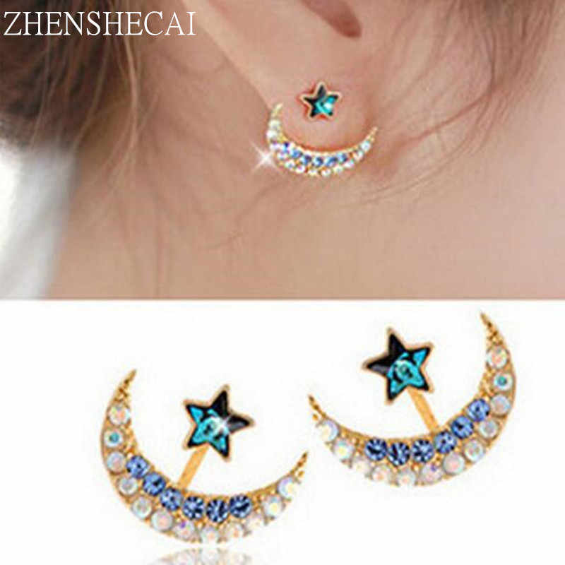 New blue crystal rhinestone star and moon earrings pentacle pendant stud earrings for women fashion Jewelry Wholesale e0288