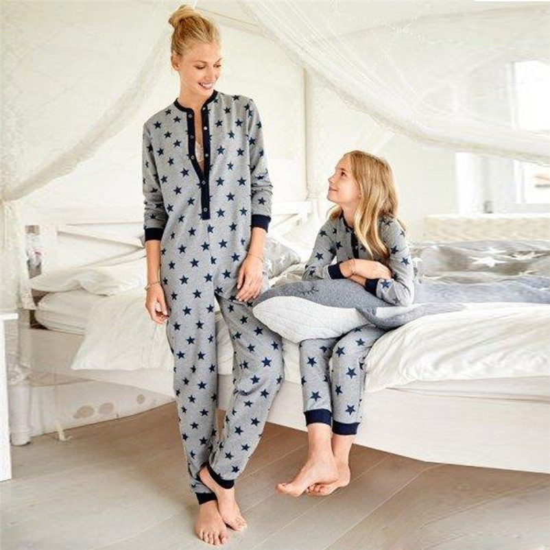 c515fc641 Ladies Star Printed Overalls Pajamas Family Sleepwear Women Long ...