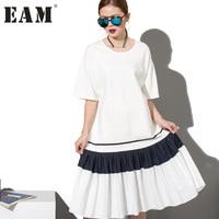 EAM 2018 Fashion New Simple Black White Stitching Loose BIG Dress Female Organ Pleated Hem