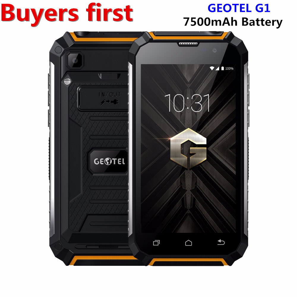 D'origine Geotel G1 Mobile téléphone 1280*720 5.0 Andriod 7.0 MTK6580A Quad core 2 GB RAM 16 GB ROM 8.0MP 7500 Mah 3G WCDMA smartphone