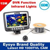 Eyoyo Original 15M 1000TVL Underwater Ice Fishing Camera Fish Finder W Video Recording DVR 4 3