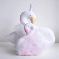 30cm Novelty Soft Pink Lace Crown Swan Plush Toy Cushion Pillow Home Decoration Pillow Baby Appease