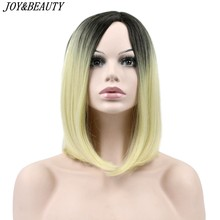 JOY&BEAUTY Ombre Blue/Blonde/Bug Short Straight Heat Resistant Synthetic Hair Wig For Black/White Women Cosplay Or Party Bob Wig(China)