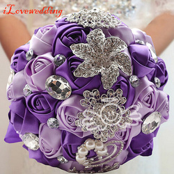 Purple ivory pink red bridal wedding bouquet with pearl beaded brooch and silk roses romantic wedding.jpg 250x250