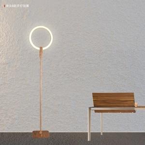 Image 2 - Nordic LED woonkamer staande verlichting Moderne vloer verlichting Acryl thuis verlichting Houten deco armaturen slaapkamer vloer lampen