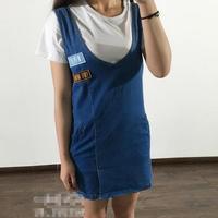 100 Cotton 2016 New Korean Summer Patch Embroidered Denim Waist Dress Vest Splicing Dress Wild W298
