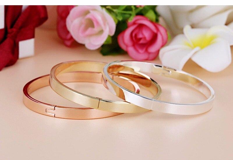 Luxury Lover Cuff Bracelets&Bangles Top Silver Color Brand Couples Simple Glaze Buckle Love Charm Bracelet For Women Or Men 9