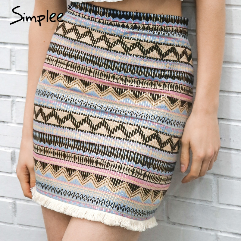 Simplee Vintage Pencil Skirt Women Bottom Boho Chic Tassels Ethnic Mini Skirt Summer Beach Female High Waist Short Skirt Female
