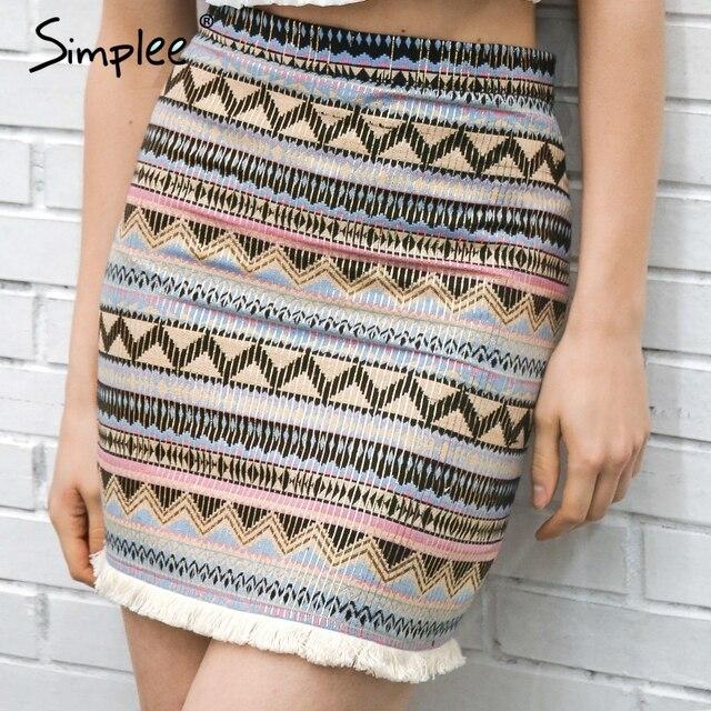 Simplee Vintage spódnica ołówkowa kobiety dół boho chic frędzle etniczna mini spódnica letnia plaża kobiet wysokiej talii krótka spódniczka kobiet