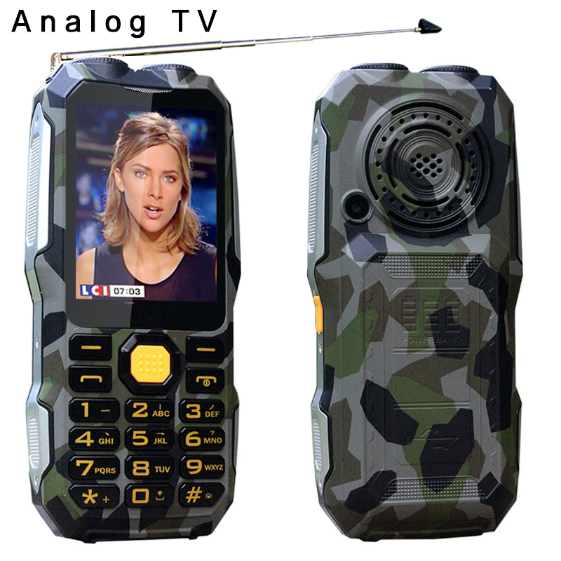 DBEIF D2016 Antenna Analog TV Rugged Mobile Phone Magic Voice Dual Torch FM Outdoor Shockproof Power Bank Surface 2.8
